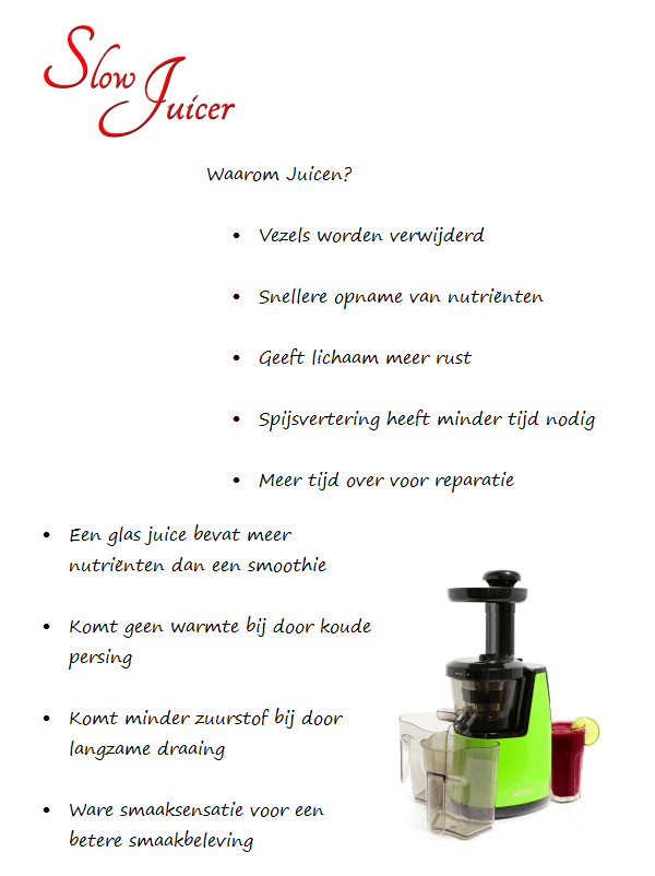 Juiceme Slowjuicer : Slowjuicer of Highspeedblender - Redsand